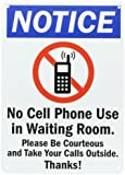 "SmartSign Plastic Sign, Legend ""Notice: No Cell Phone Use in Waiting Room"" with Graphic, 14"" high x 10"" wide, Black/Blue/Red on White"