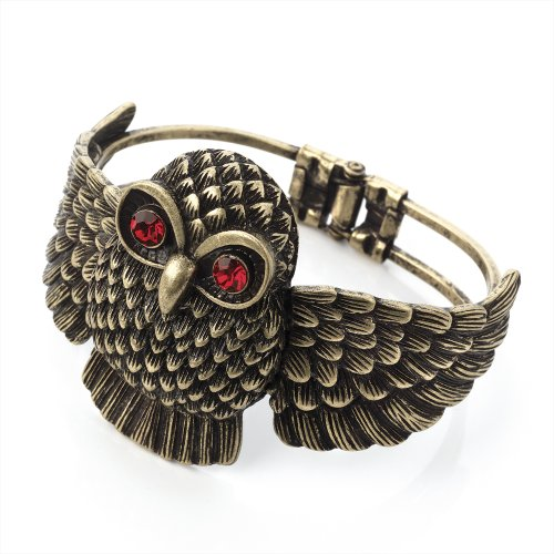 Owl Hinged Fashion Bangle Burnt Gold