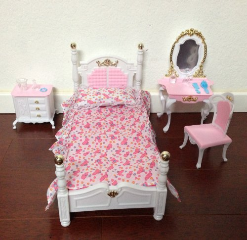 Barbie Size Dollhouse Furniture Bed Room Beauty Play Set ...