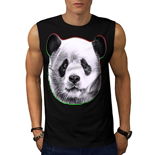 cracked-wood-panda-timber-style-men-new-black-xl-sleeveless-t-shirt-wellcoda