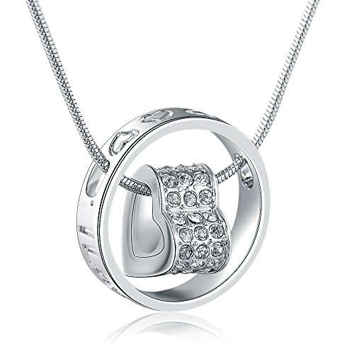 """MARENJA Crystal-Women's Heart Pendant Necklace Engraved with """"I Love You, Mom.""""Transparent Inlaid Austrian Crystal White Gold Plated Ring Pendant Exclusive Design Chain Length 40-45cm/15.7-17.7in"""