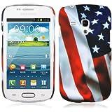 Cadorabo ! TPU Hard Cover f�r Samsung Galaxy S3 MINI (GT-I8190) im Muster USA Flagge (Stars and Stripes)
