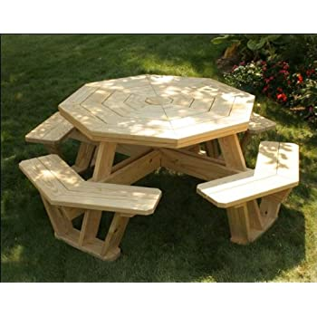 """62"""" Treated Pine Octagon Walk-In Picnic Table"""