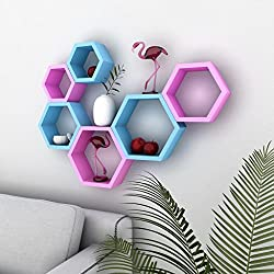 USHA Furniture Beehive Wall Shelf Set of 6 (Pink & Sky Blue)