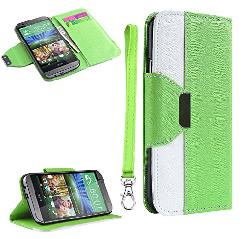 Mylife (Tm) Ultra Green + White {Modern Design} Faux Leather (Card, Cash And Id Holder + Magnetic Closing) Slim Wallet For The All-New Htc One M8 Android Smartphone - Aka, 2Nd Gen Htc One (External Textured Synthetic Leather With Magnetic Clip + Internal