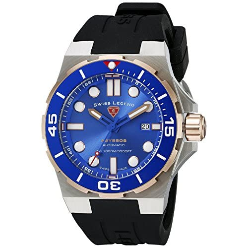 Swiss Legend Men's Abyssos 46mm Black Silicone Band Steel Case Automatic Date Watch 10062A-SR-03-SM-RDB