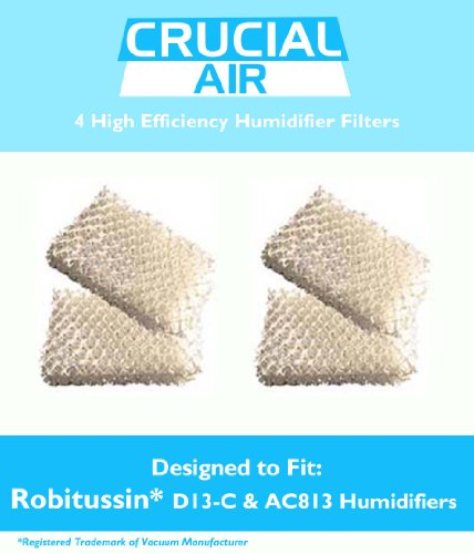 4 Robitussin Humidifier Replacement Wick Filter, Part # AC-813, AC813, AC 813, D13-C, D13C, D13 C, Designed & Engineered by Crucial Air