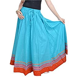 SHREEMANGALAMMART Fashionable n Ethnic Blue Cotton Long Skirt(Light Sea Green)(SMSKT515)