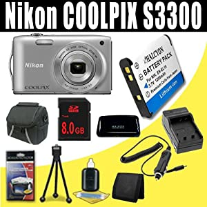 Nikon COOLPIX S3300 16 MP Digital Camera with 6x Zoom NIKKOR Glass Lens and 2.7-inch LCD (Silver) 1200 mAh EN-EL19 Replacement Lithium Ion Battery + External Rapid Charger + 8GB SDHC Class 10 Memory Card + Carrying Case + SDHC Card USB Reader + Memory Card Wallet + Deluxe Starter Kit Bundle DavisMAX Accessory Kit