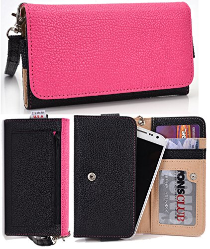 Black&Pink Wallet Wristlet Clutch Nuvur ™ Compatible W/Sony Xperia Z3 Dual (D6653) |Id And Card Slots, Zipper Pocket