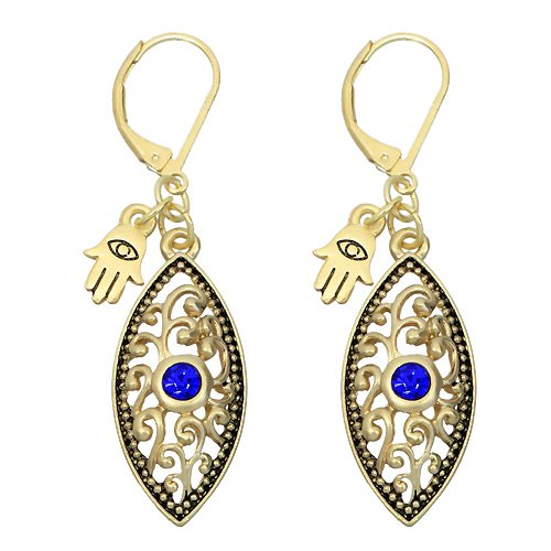 Antique Gold Evil Eye Earrings with Blue Crystal and Hamsa Charm