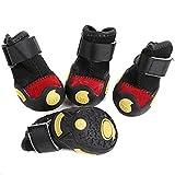 Semoss 4 Set Anti Rutsch Hundeschuhe Wasserdicht Hunde Socken Hunde Schuhe Schwarz Pfotenschutz Hunde Stiefel,Größe:XS,3.6 x 2.8 cm (L x B)