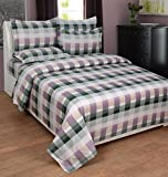 BeautifulHOMES Gorgeous Cotton Double Bedsheet With 2 Pillow Cover - Purple and Grey
