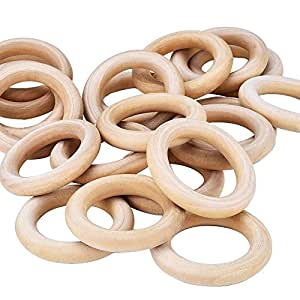Eboot 20 pack 55mm wood rings wooden rings for for Wooden rings for crafts
