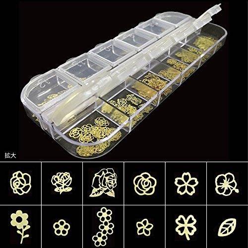 薄型メタル パーツ ゴールド240枚 ネイル&レジン用 12種類×各20個ケース入 (フラワー)