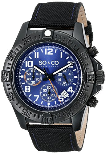 So&Co New York Men'S 5016.3 Yacht Club Quartz Date Blue Dial Nylon-Covered Leather Strap Watch