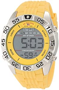 U.S. Polo Assn. Sport Men's US9228 Yellow Silicone Digital Watch