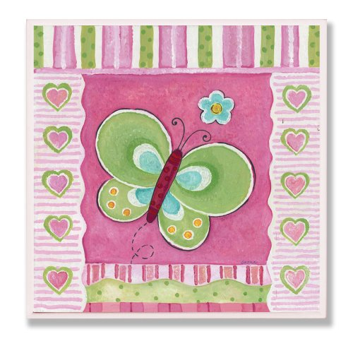 The Kids Room by Stupell Green Butterfly with Stripes and Hearts Square Wall Plaque