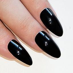 Bling Art Stiletto False Nails Fake Acrylic Black Dark Beauty Full Cover Medium Tips
