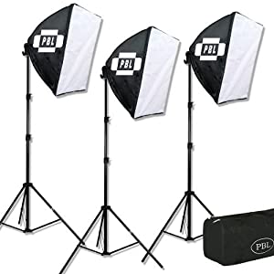 PBL Stuido Lighting EZ Softbox Kit, 1275 Watts, 32 Inch X 32 Inch for Photo or Video
