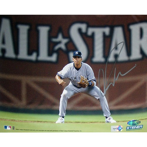 Alex Rodriguez Fielding W/ All Star In Background Horizontal 8X10 Photo (Mlb Auth) (Signed In Silver) front-655923
