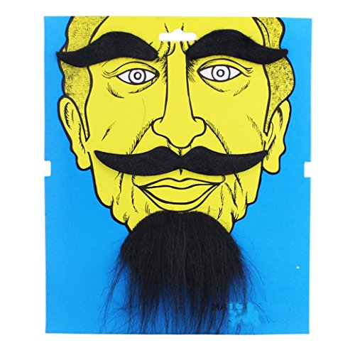 [Fullkang Funny Costume Party Male Halloween Beard Facial Hair Disguise Black Mustache (Black 1)] (Fake Beards That Look Real)