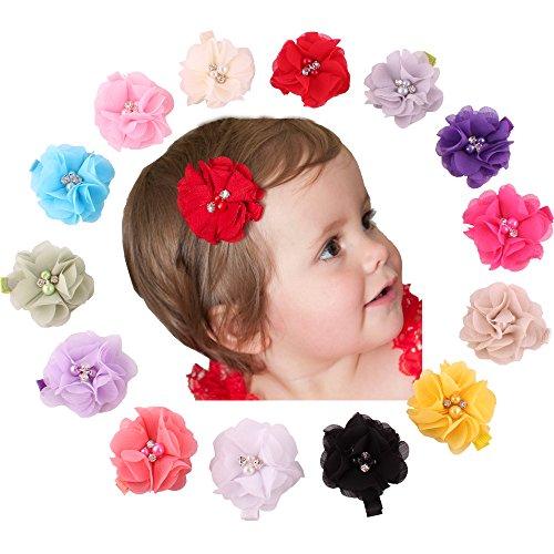 Lovinglove Baby Hair Accessories Chiffon Flower Rhinestone Buckle Hair Clips (14 Handmade Flower)