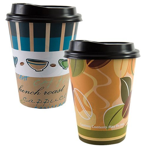 12 Oz. Paper Cup Hot And Cold Cup Coffee Cup With Lid Two Unique Designs (Pack Of 28)