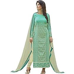 Vasu Saree Georgette Straight Cut Salwar Suit In Aqua-1017
