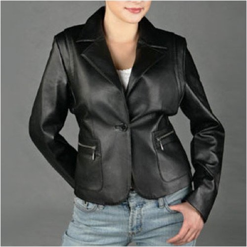 Buy BGSD Women's Lambskin One Button Leather Blazer