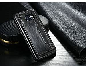 Excelsior Premium Leather Card Holder Back Cover Case for Samsung Galaxy S6 - Black