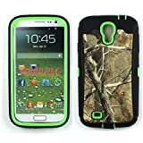 iCustomized (TM) Black and Green Rugged Heavy Duty Hard Dual Layer Weather and Water Resistant Case with Camouflage Woods Design for the Samsung Galaxy S4 IV i9500 (Android)
