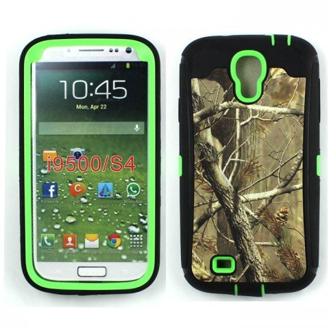 iCustomized TM Black and Green Rugged Heavy Duty Hard Dual Layer Weather and Water Resistant Case with Camouflage Woods Design for the Samsung Galaxy S4 IV i9500 Android