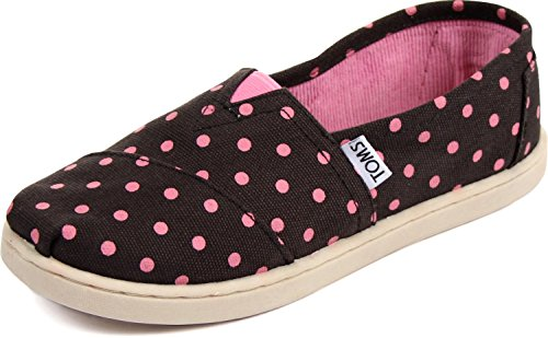 Toms - Youth Slip-On Shoes In Black Pink Small Dot, Size: 12
