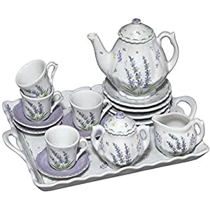 childrens tea party set for 4 lavender design tea services tea sets. Black Bedroom Furniture Sets. Home Design Ideas