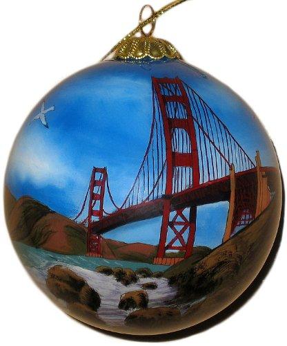 Hand Painted Glass Ornament, Golden Gate Bridge CO-206