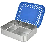 LunchBots Bento Cinco LARGE Stainless Steel Food Container, 5 Section, Blue Dots Cover