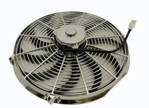 """Cfr Performance 16"""" High Performance Silver Electric Radiator Cooling Fan - Curved Blade"""