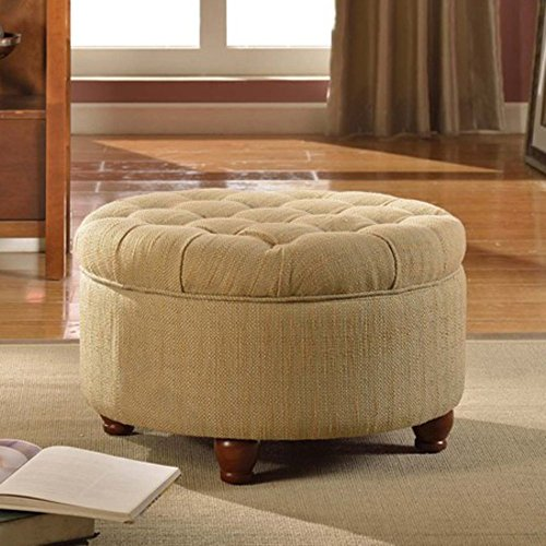 Kinfine Kinfine Tweed Tufted Storage Ottoman, Cream, Fabric