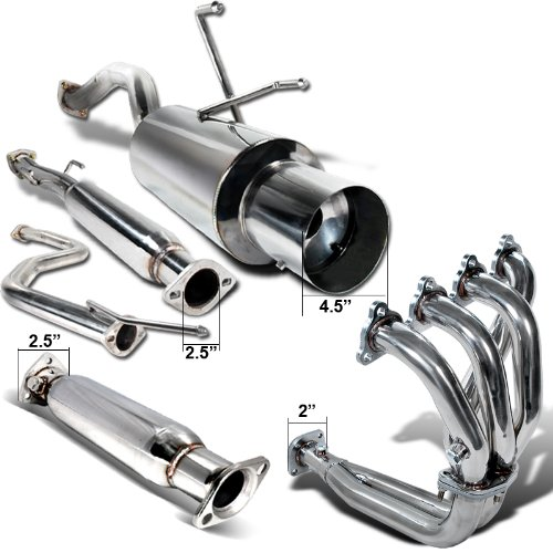 Spec-D Tuning MFH-3CV92 Honda Civic 2/4dr Ex Dx Lx Exhaust Catback System, Header, Test Pipe (Honda Del Sol Exhaust compare prices)