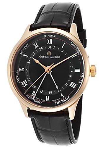 Maurice Lacroix Men'S Masterpiece Automatic Black Crocodile And Dial 18K Rose-Tone Gold Case