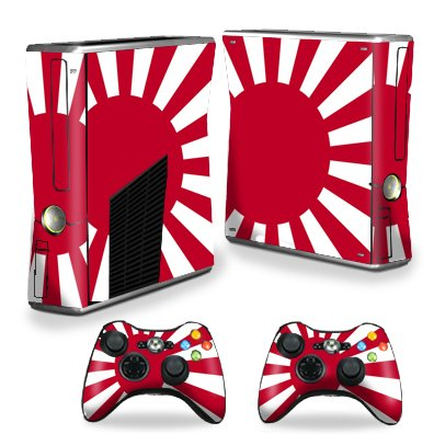 Protective Vinyl Skin Decal Cover for Microsoft Xbox 360 S Slim + 2 Controller Skins Sticker Skins Rising Sun