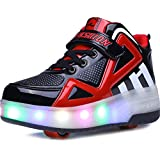 UBELLA Boys Girls High-Top LED Light Up Double Wheels Roller Sneakers Skate Shoes