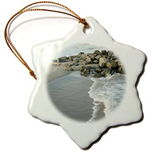 3dRose orn_38305_1 Cold Waves of Belmar New Jersey Beaches Snowflake Porcelain Ornament, 3-Inch