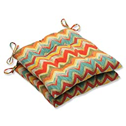 Pillow Perfect Outdoor Tamarama Multi Wrought Iron Seat Cushion, Set of 2