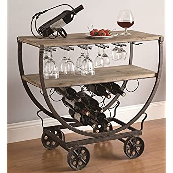 MutterMui Retro Industrial Wine Bar Cart Rolling Table Rustic Warehouse Wood & Metal On Wheels