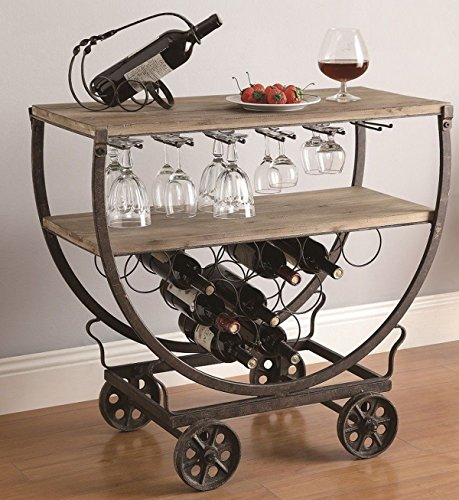 MutterMui Retro Industrial Wine Bar Cart Rolling Table Rustic Warehouse Wood & Metal On Wheels 0