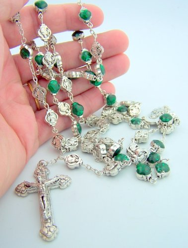 Our Lady of Guadalupe Dominican Rosary Green Enameled Beads with Holy Prayer Card
