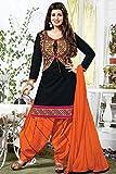 jashvi creation Womens Cotton Printed Unstitched Regular Wear Salwar Suit Dress Material (JC_Dress_996_black&orenge_freesize)
