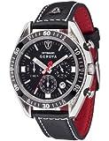 DeTomaso GENOVA SL1592C-BK - Reloj de caballero de cuarzo, correa de piel color negro (con cronómetro)